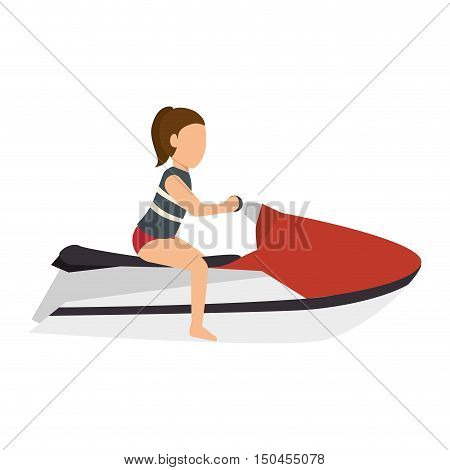 woman riding a jet ski cartoon. aquatic sport. vector illustration