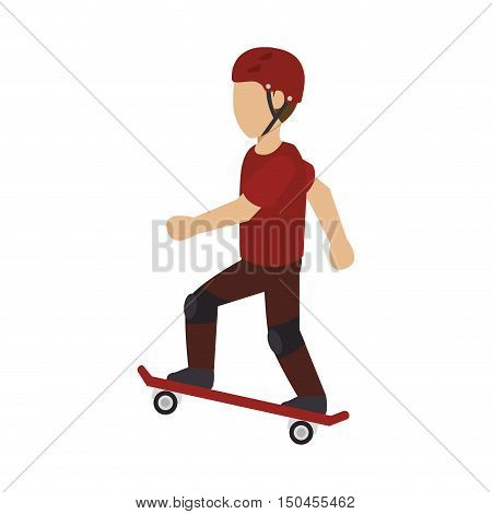 skater man with helmet silhouette. extreme sport. vector illustration