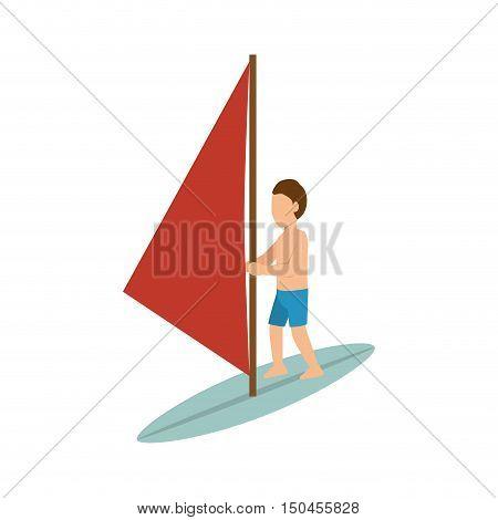 Sportsmen surfer red sail cartoon. extreme sport. vector illustration