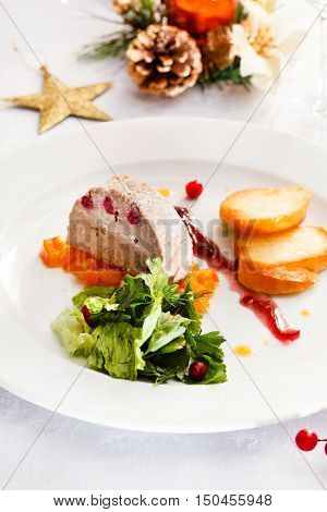 Foie gras pate on Christmas table