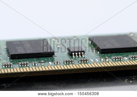 Close up of computer ram memory barrette