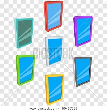 Tablet pc computers set with blank screen. Vector illustration of lcd screen pad isolated on transparent background. Ad template for your apps design.