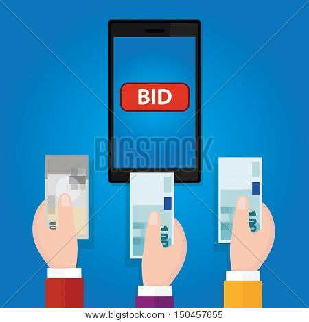 online bidding auction mobile phone bid button hand raised money cash vector