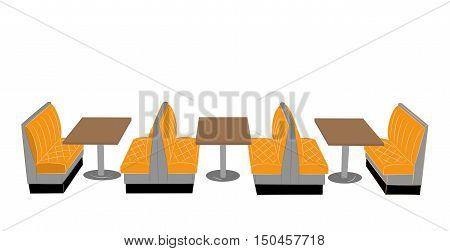tables and sofas for a restaurant or cafe. vector illustration
