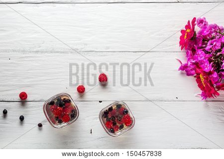 jelly of raspberry and shadberry top view