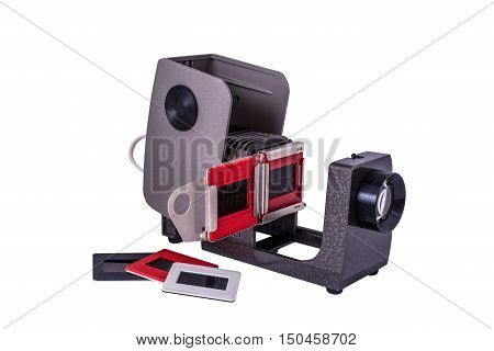 Isolated slide projector and slides - the old equipment