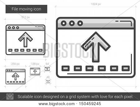File moving vector line icon isolated on white background. File moving line icon for infographic, website or app. Scalable icon designed on a grid system.