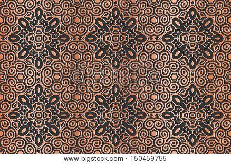 retro abstract symmetrical pattern embossed art deco light bronze