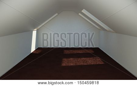 Concept finishing the attic rooms for accommodation. 3d illustration.