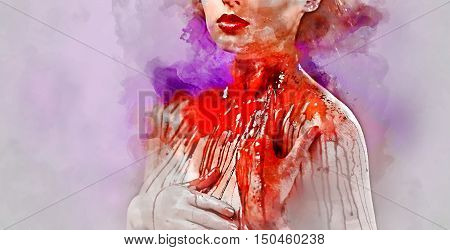 Young woman's body covered with a blood. Digital watercolor painting..