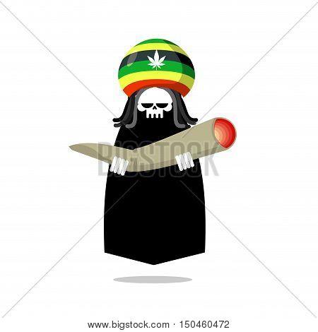 Rasta Death Offers Joint Or Spliff. Rastafarian Dreadlocks Skull And Beret. Grim Reaper For Rastafar