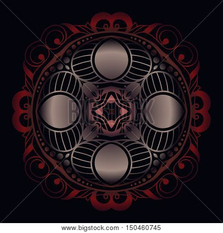 Mystical Emblem on a black background abstract lace decoration arabic style