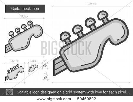 Guitar neck vector line icon isolated on white background. Guitar neck line icon for infographic, website or app. Scalable icon designed on a grid system.