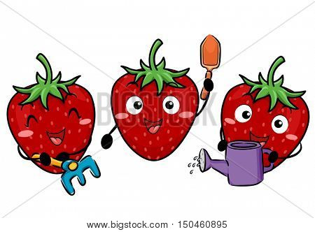 Colorful Illustration of a Group of Happy Strawberry Mascot Using Different Gardening Tools