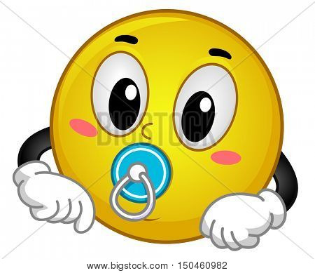 Mascot Illustration of a Cute and Happy Baby Smiley Sucking a Pacifier