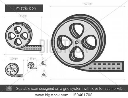 Film strip vector line icon isolated on white background. Film strip line icon for infographic, website or app. Scalable icon designed on a grid system.