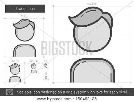 Trader vector line icon isolated on white background. Trader line icon for infographic, website or app. Scalable icon designed on a grid system.