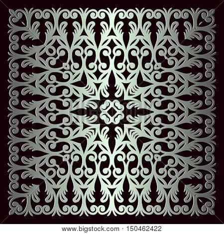 vintage background with classy patterns interwoven lines metallic color and a frame on black