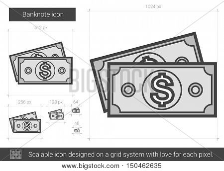 Banknote vector line icon isolated on white background. Banknote line icon for infographic, website or app. Scalable icon designed on a grid system.