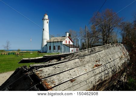 Sturgeon Point Lighthouse, built in 1869, Lake Huron, Michigan, USA