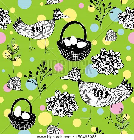 Seamless Easter pattern with doodle birds on the grass. Vector illustration.