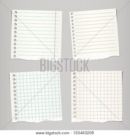 Pieces of ripped light brown note, notebook paper sheets stuck on grey background.