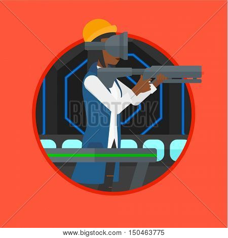 An african-american woman wearing virtual reality headset. Woman playing video game while standing on a treadmill with a gun in hands. Vector flat design illustration in the circle isolated on