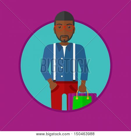 An african-american smiling man holding shopping bags. Happy young man carrying shopping bags. Man with a lot of shopping bags. Vector flat design illustration in the circle isolated on background.