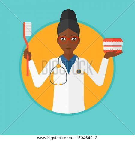 An african-american dentist holding dental jaw model and a toothbrush. Female dentist showing dental jaw model and toothbrush. Vector flat design illustration in the circle isolated on background.