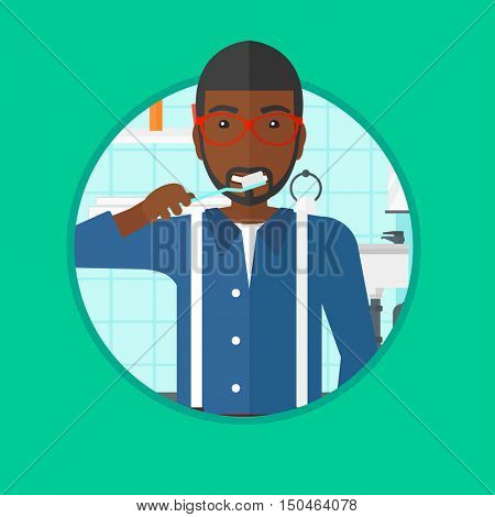 An african-american man brushing his teeth with a toothbrush in bathroom. Smiling man with toothbrush. Daily hygiene concept. Vector flat design illustration in the circle isolated on background.