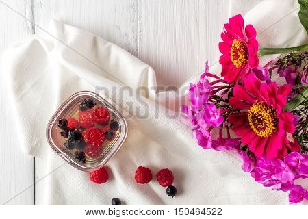 jelly of raspberry and shadberry flat lay