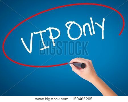 Women Hand Writing Vip Only   With Black Marker On Visual Screen