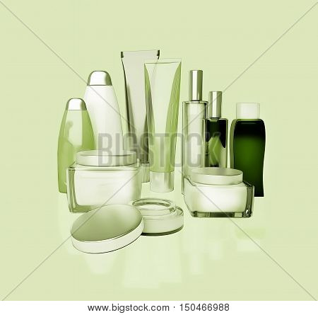 Face cream eye cream serum and lip balm. Skin care isolated. 3D illustration