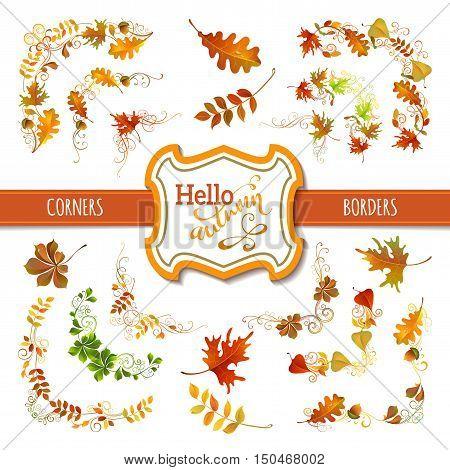 Set Of Autumn Leaves Design Elements.