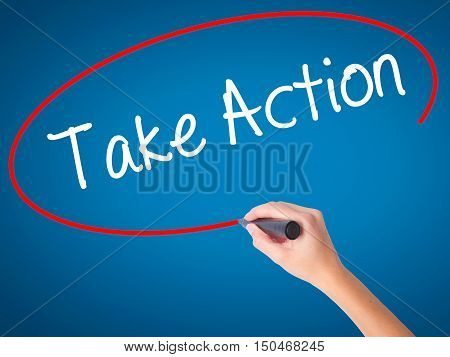 Women Hand Writing Take Action With Black Marker On Visual Screen