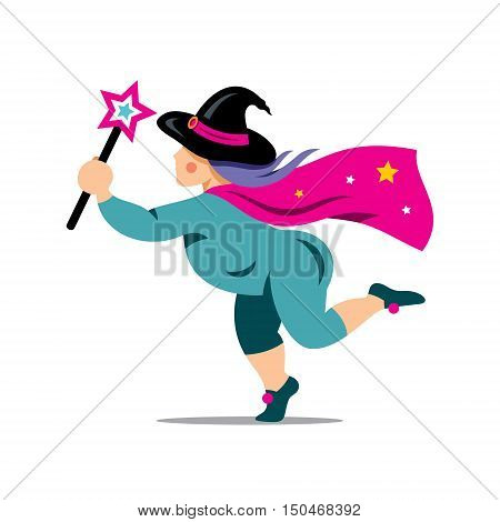 Wizard with star stick. Isolated on a white Background