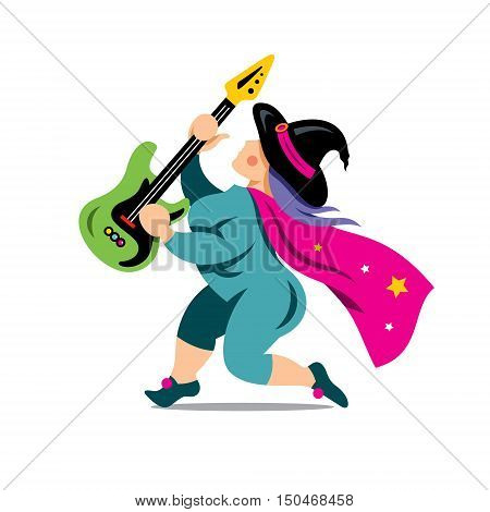 Magician guitarist. Isolated on a white Background