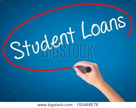 Women Hand Writing Student Loans With Black Marker On Visual Screen
