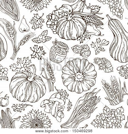 Vector Seamless Sketch Thanksgiving Pattern.