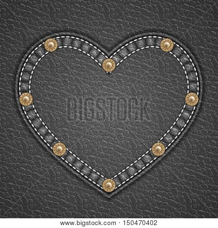 Heart shaped patch with rivets on leather background. Vector illustration