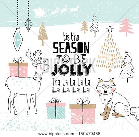 Hand drawn christmas card with cute animals