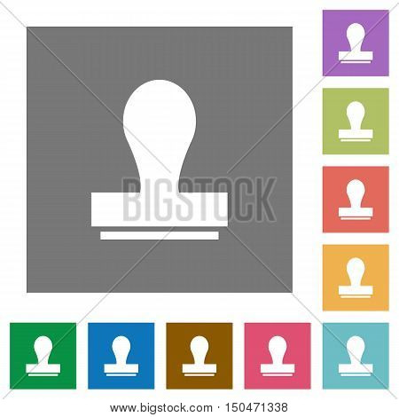 Stamp flat icon set on color square background.