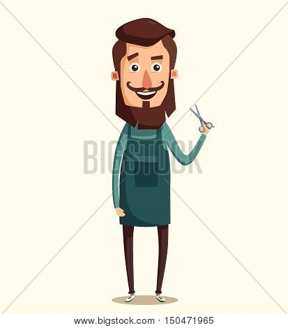 Cute barber character. Barber shop. Cartoon vector illustration. Scissors in hand. Vintage hairstyle
