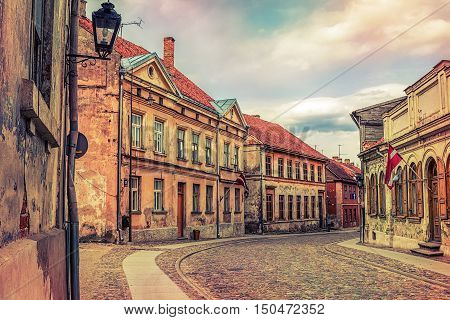 Ancient street in Old Town of Kuldiga Latvia