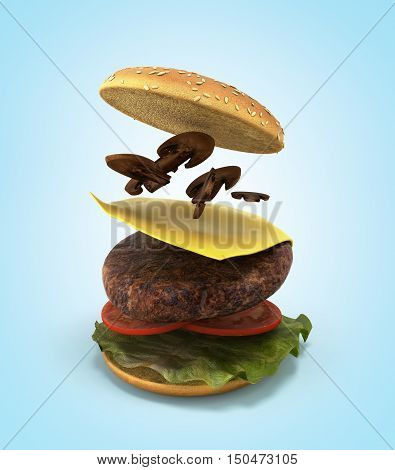 Opening Of The American Hamburger 3D Render On Gradient
