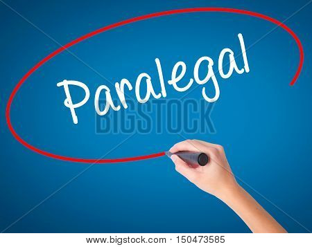 Women Hand Writing Paralegal With Black Marker On Visual Screen