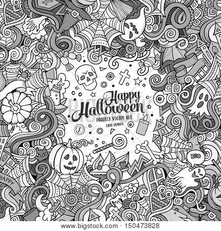 Cartoon cute doodles hand drawn Happy Halloween frame design. Line art detailed, with lots of objects background. Funny vector illustration. Sketchy border