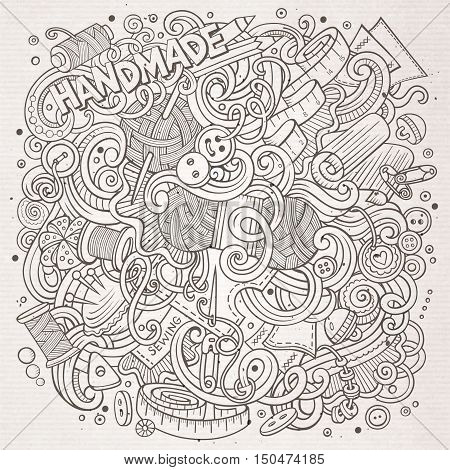 Cartoon cute doodles hand drawn Handmade illustration. Line art detailed, with lots of objects background. Funny vector artwork. Sketchy picture with hand made theme items