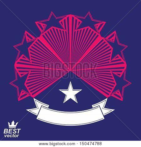 Vector corporate design element celebrative stars web emblem.