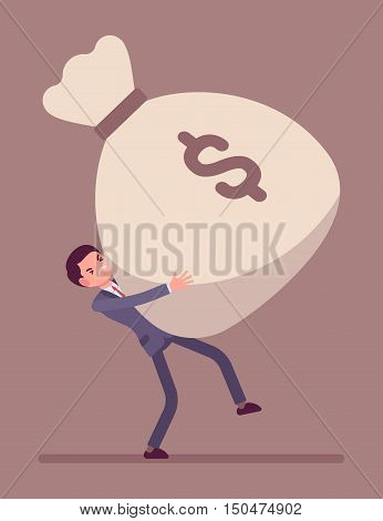 Businessman dragging a heavy giant money sack, tension on his face. Cartoon vector flat-style concept illustration
